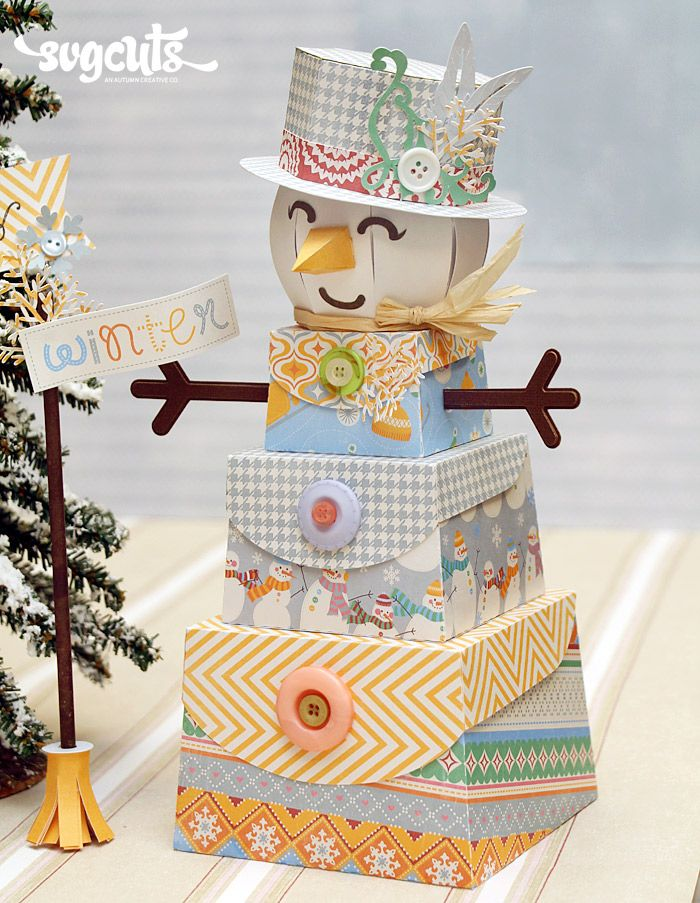 Frosty Flake Snowman by Kathy Helton   SVGCuts.com Blog...Love the stacked boxes to create something completely different!