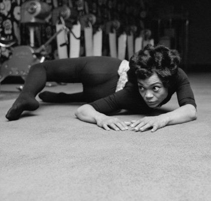 Eartha Kitt  American singer and actress Eartha Kitt (1927 - 2008) exercising at the Town and Country Health Salon in Knightsbridge, London, 1st April 1965. (Photo by Harry Benson/Daily Express/Hulton Archive/Getty Images)