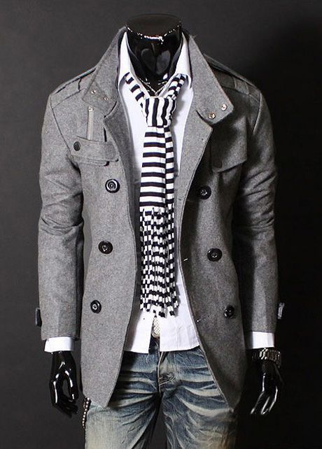Turndown Collar Double-breasted Grey Cotton Long Coat