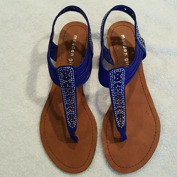 Ritzy Blue Sparkling Sandals.        NWOT Royal Blue Sandals with iridescent stones. New, never worn. Madden Girl Shoes Sandals