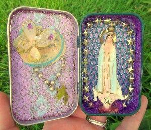 miniature shrine | Small Altoid Tin Shrine Lilac Purple and Gold Saint Fatima Virgin Mary ...