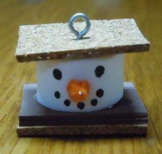 christmas ornaments to make   How to make Christmas ornaments; S'more snowman ornament