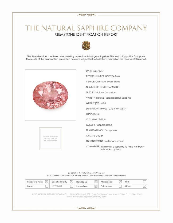 Natural Untreated Padparadscha Sapphire PA2468 Certification