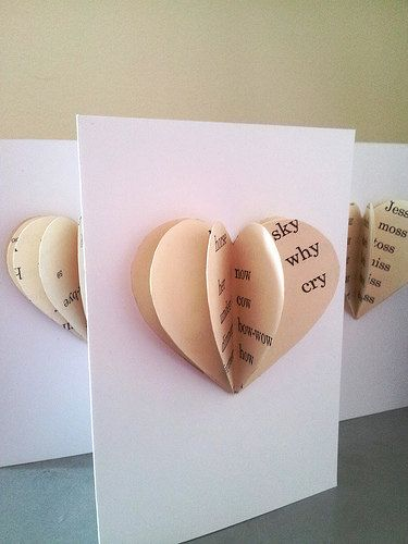 Valentine's Day, wedding or anniversary 3D paper heart handmade from vintage children's book by ellabetsyboo