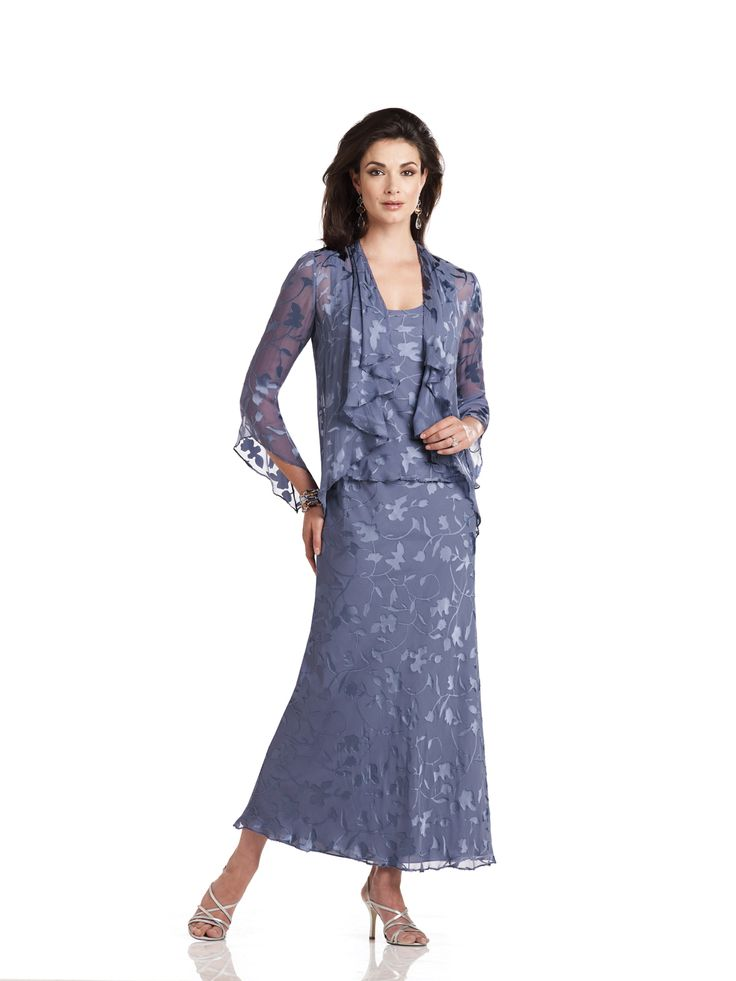 Two-piece silk burnout dress set, sleeveless mock two-piece A-line dress with hand-beaded trim and scoop neckline, matching three-quarter sleeve cardigan style jacket with cascading ruffle collar, suitable for the mother of the bride and the mother of the groom. As shown in Delphinium:Jeweled Occasions earring style and row bracelet style Taylor sold separately. As shown [...]