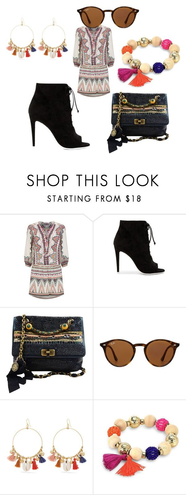 """""""Untitled #6950"""" by bellagioia ❤ liked on Polyvore featuring Hale Bob, Off-White, Lanvin, Ray-Ban, Chan Luu and Robert Rose"""