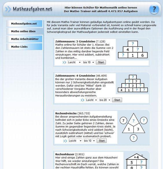 Mathe online üben und viele Arbeitsblätter zum Ausdrucken