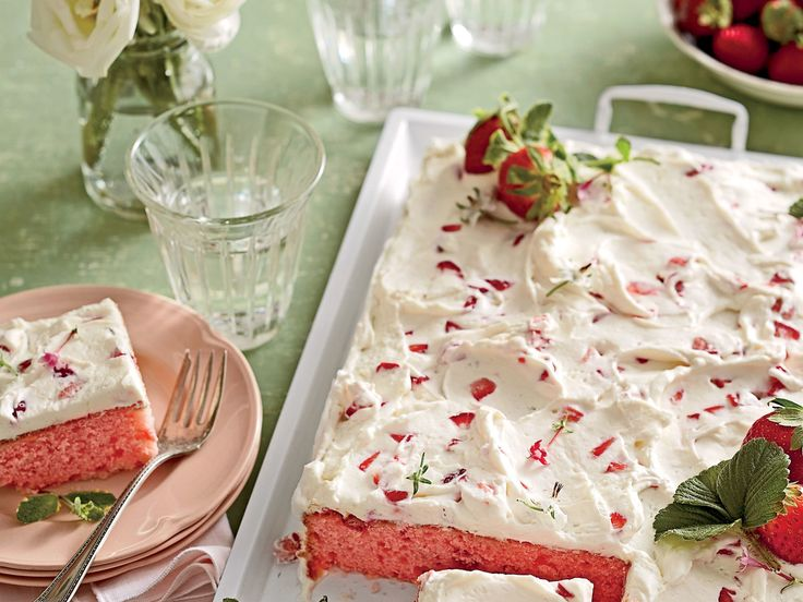 """Strawberries-and-Cream Sheet Cake   Trust us: This simple and swoon-worthy sheet cake will be a keeper in your recipe box. File it under """"Springtime Crowd-pleaser."""""""
