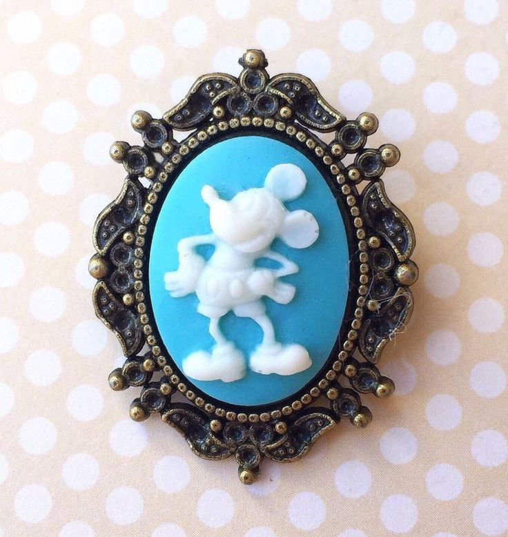 """Handmade """"Vintage Mickey"""" Light Blue Vintage Mickey Mouse Inspired Cameo Brooch with Bronze Setting by FemmeDeBloom"""