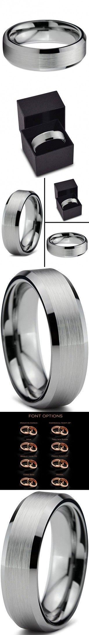 Tungsten Wedding Band Ring FREE Custom Laser Engraving 6mm for Men Women Silver Grey Beveled Edge Brushed Comfort Fit Lifetime Guarantee