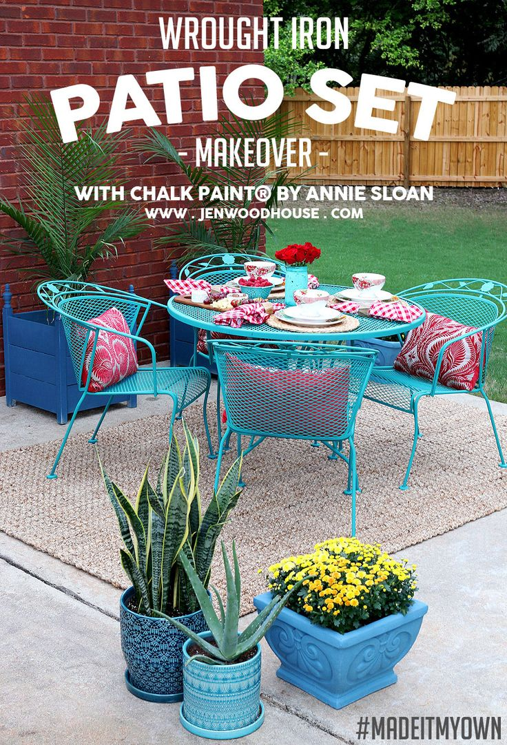 How To Paint Patio Furniture with Chalk Paint   Wrought Iron. 25  best ideas about Painted patio furniture on Pinterest