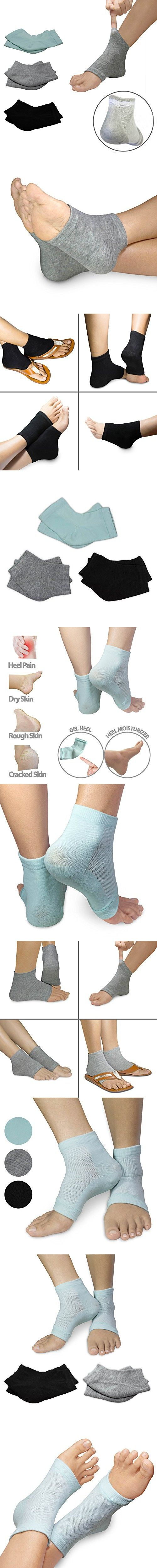 3 PACK - Moisturizing Vented Gel Day/Night Heel Socks for Dry Hard Cracked Heels with Enriched Vitamins by Triim Fitness (3Pack)