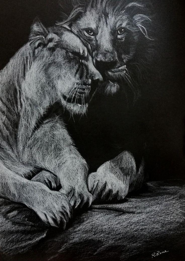 La forza dell'amore.. matita bianca su cartoncino nero.20x30