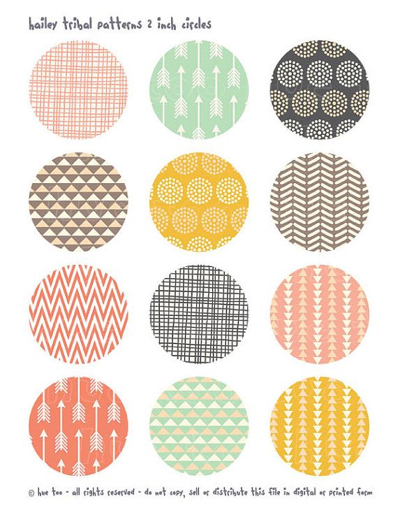 tribal patterns 2 inch circles digital, pink aqua mustard yellow, triangle arrows party printable cupcake toppers 919 on Etsy, $3.50