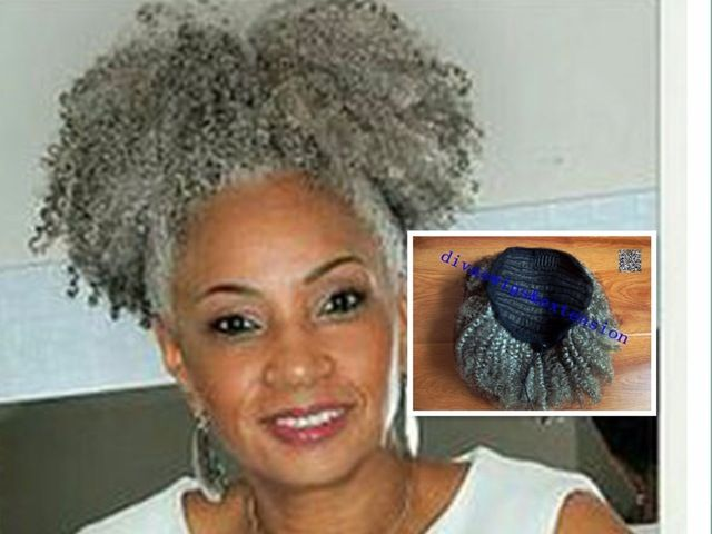Grey Afro Puff Drawstring Ponytail Hairstylegalleries Com