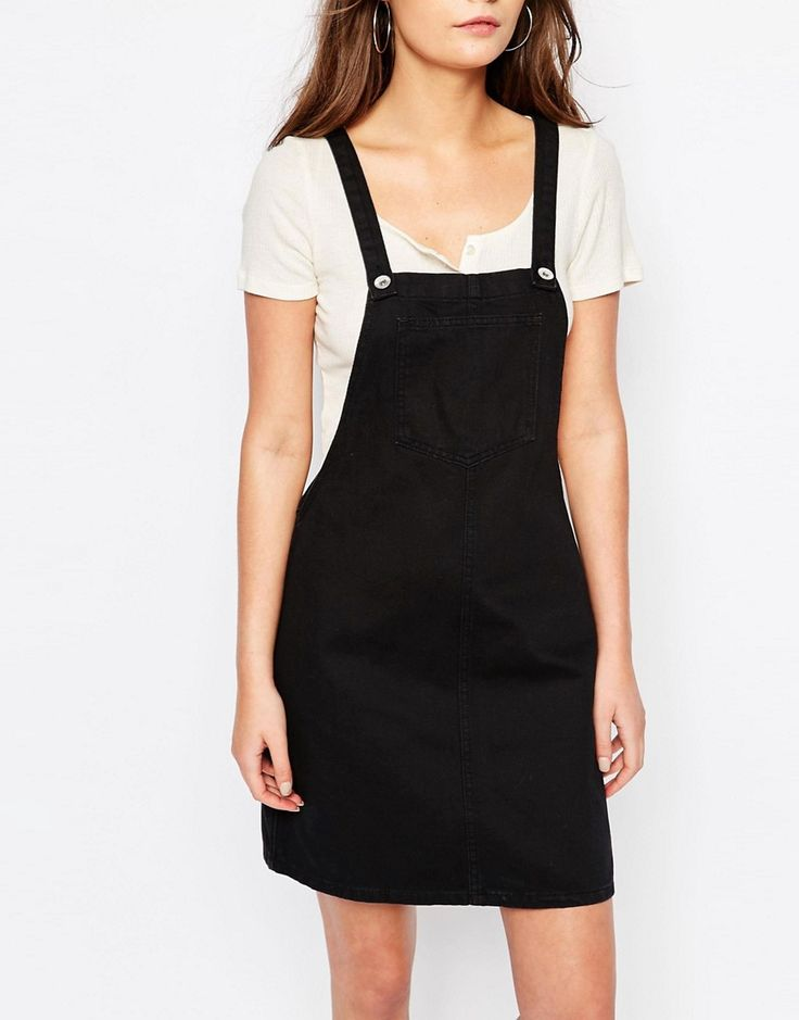 Image 3 of New Look Black Denim Dungaree Pinny