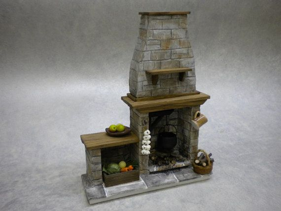 Doll House Miniature Old  Stone  Fireplace  by FirecraftMiniatures