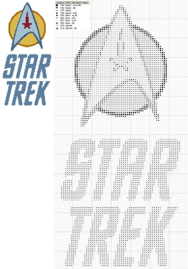 Star Trek Logo Cross Stitch by black-lupin.deviantart.com