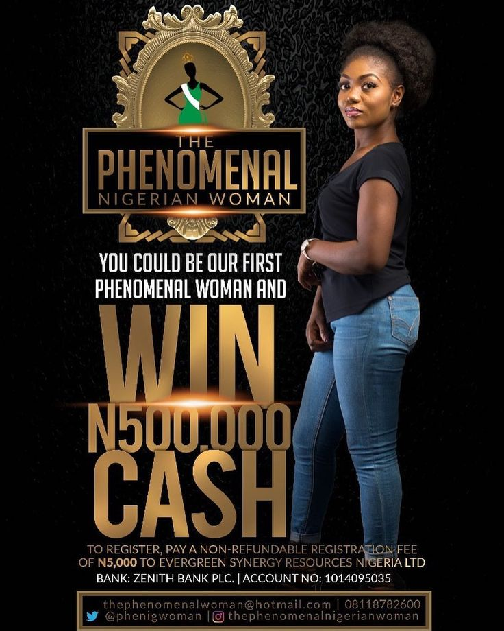 @thephenomenalnigerianwoman celebrates talent, class, uniqueness and creativity of young Nigerian Women all over the world.  Registration for our very 1st @thephenomenalnigerianwoman Beauty Contest is on!!! Entries close July 31st.  STEP 1: Pay a non refundable registration fee of N5,000 (five thousand Naira only) to EVERGREEN SYNERGY RESOURCES NIGERIA LTD. Zenith Bank Plc || Account No. 1014095035  STEP 2: SEND AN EMAIL WITH THE DETAILS LISTED BELOW TO: thephenomenalwoman@hotmail.com  1…