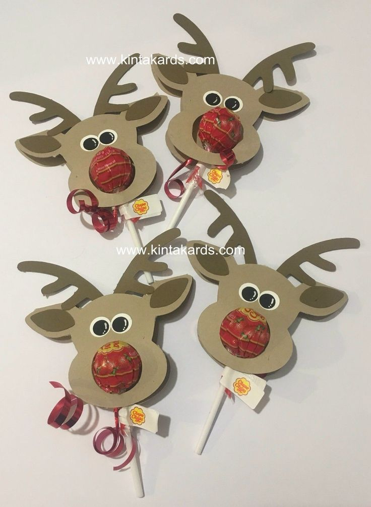 Christmas Rudolph Reindeer Lolly Pop Skinny Treat Stampin Punch Art Party Favour | eBay