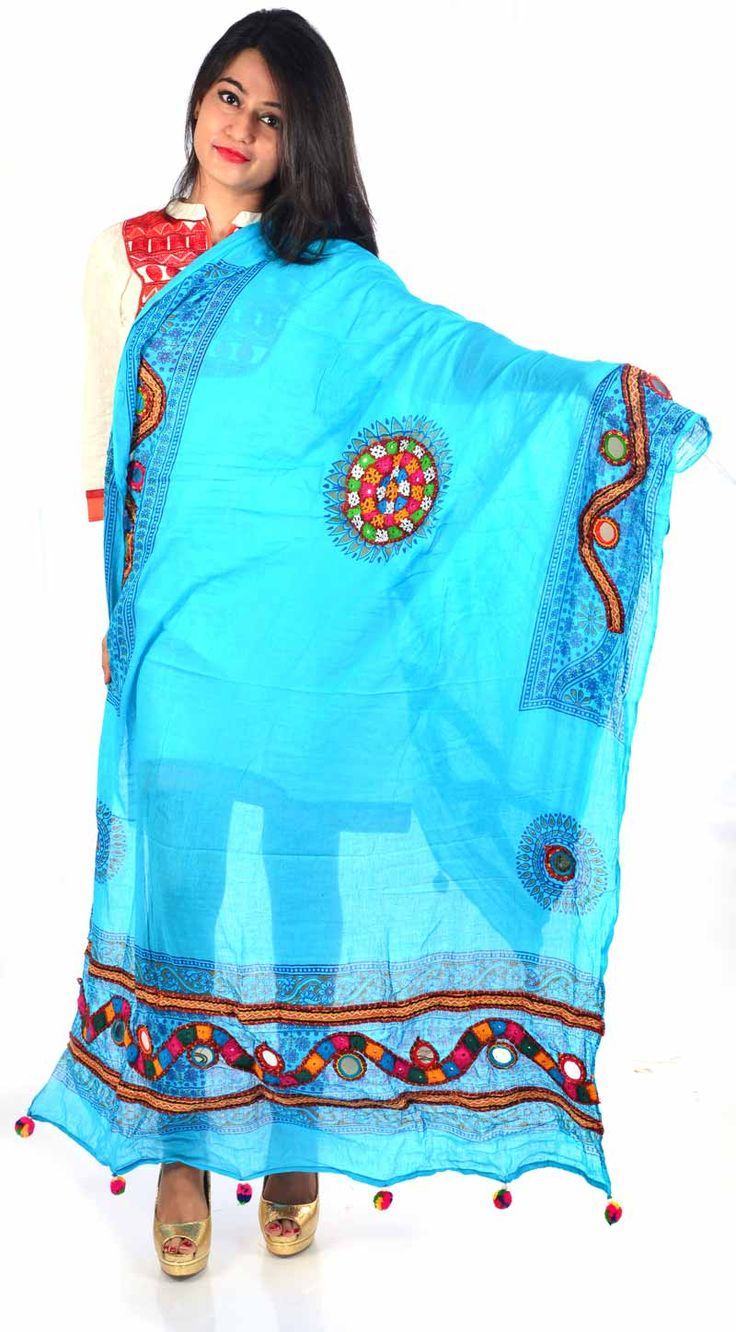 Styleincraft Handwork cotton Sky Blue designer Dupatta. This combination is unique mix and match embroidery work and block printing. you can find our best collection in Dupattas. This is Traditional work dupattas wear on multiple dresses as multi color thread embroidery work on it. #Womenswallets #Pursesonline #Handmadeitems #Styleincraft