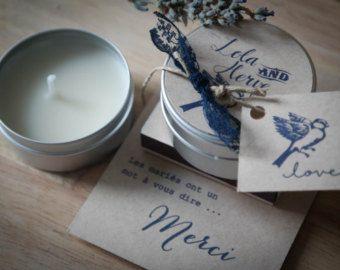 Cadeaux  invités mariage - ensemble bougie + boîte allumette - Commande min 15