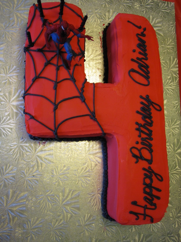 Spiderman birthday cake. Using the wilton numbers/letters pan... best purchase ever!