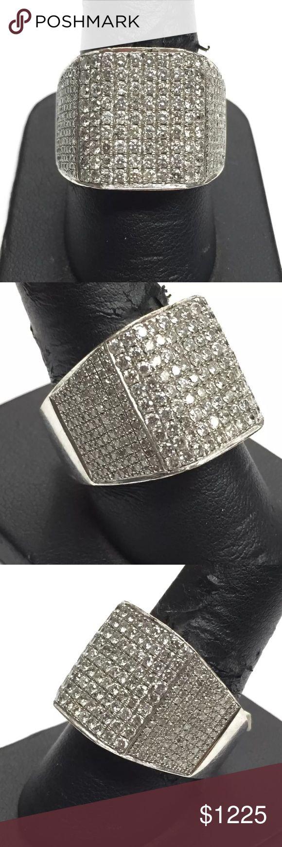 Mens 3 carat 14k white gold diamond ring! BLING! Mens 3 carat 14k white gold diamond ring! BLING! Accessories Jewelry