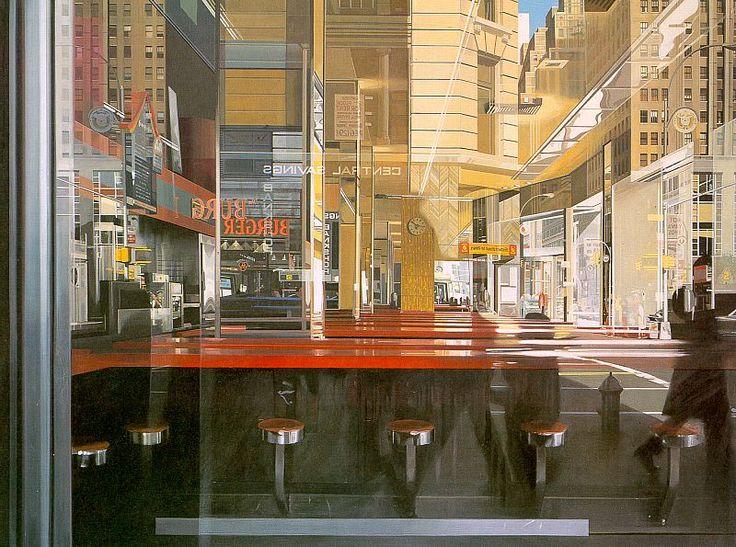 "Richard Estes - ""Central Savings"" 1975; painting (photo-realism)"