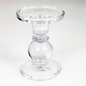 Briscoes - Glass Taper Candle Holder 9x12.5cm Clear
