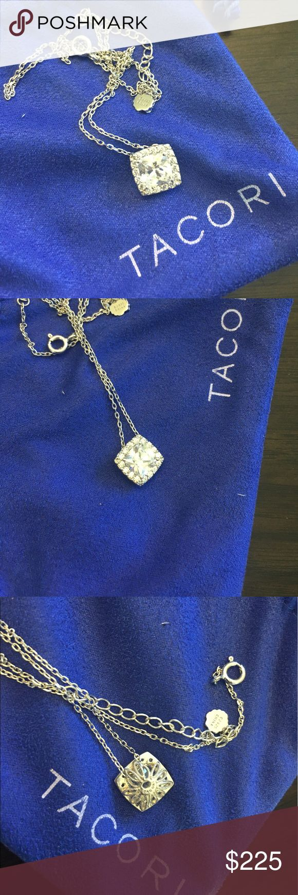 Favorite Sterling Silver Pendant Gorgeous Tacori necklace. Cushion cut center stone (not diamond) with 12 stones around it. 18 inch chain. Purchased at Kassab Jewelers in Portland, OR. Comes with original pouch. One of my favorites but I don't wear jewelry enough to keep this. Tacori Jewelry Necklaces