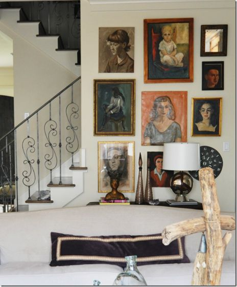 gallery wall with some lovely art. Portrait ... & 948 best Art at home images on Pinterest | Dinner parties Home ...