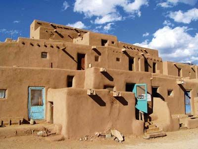 The Taos Pueblo in northern New Mexico is the oldest continuously occupied structure on the continent. Dating back to a.d. 1000, its adobe walls today house about 150 Taos Native Americans who maintain the ancient traditions of their ancestors. The Pueblo is not a historical artifact or a re-creation; it is an actual town that offers a fascinating introduction to Native American life.