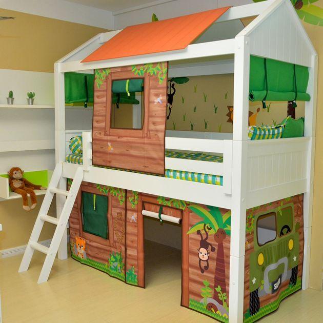 Cama Baixa com estrutura de telhado sem escorregador. Usando o tema Safari/Cabana e adesivos tema Safari
