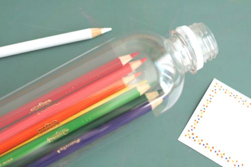 Great idea for keeping colored pencils together..while we recycle!