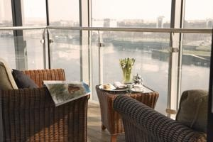 One of our City View Suites - imagine sipping a glass of wine in the Glass enclosed balcony overlooking the lights of Limerick city