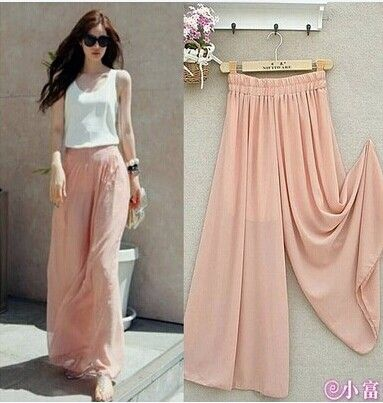 2015 New arrival Women's Summer spring autumn Wide Leg Bigfoot Pants Loose Chiffon Gauze Long Gaucho culottes Trousers-in Pants & Capris from Women's Clothing & Accessories on Aliexpress.com   Alibaba Group