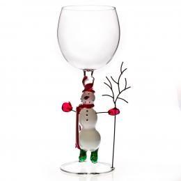 Бокал для вина  «Снеговик с веткой»