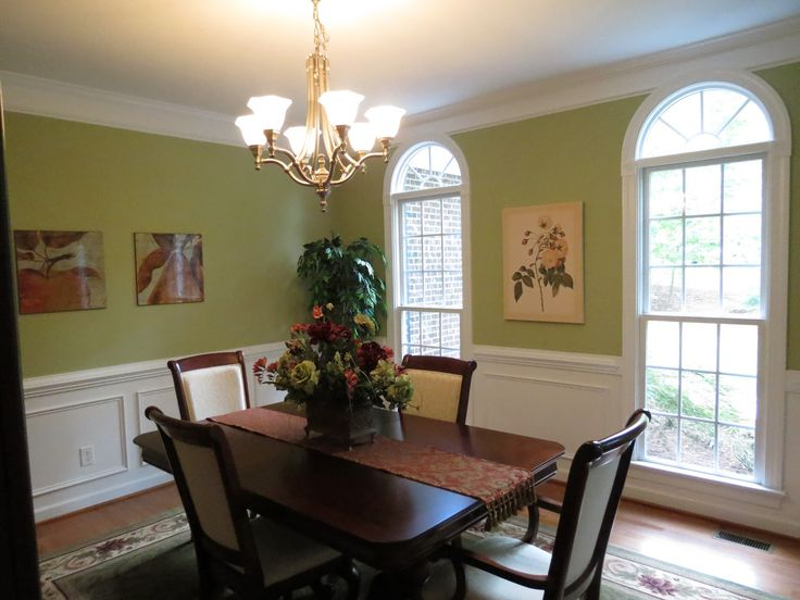 green and white wall color for dining room decorating with elegant dark brown wood rectangle shaped