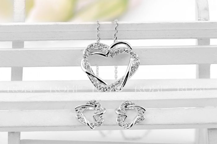 ROXI Christmas Gift Genuine Austrian Crystal Heart Set 100% Hand Made Fashion Jewelry Earrings+Necklace for Gift