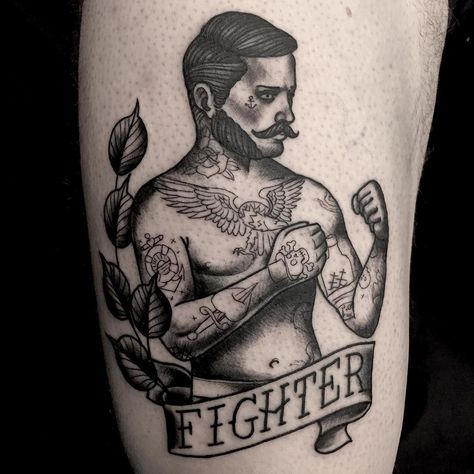 Had a good time doing this #traditionaltattoo #tattooed #boxer #fighter  done with #alphasuperfluid for my #blackink done at #onemoretattoolu in #luxembourg