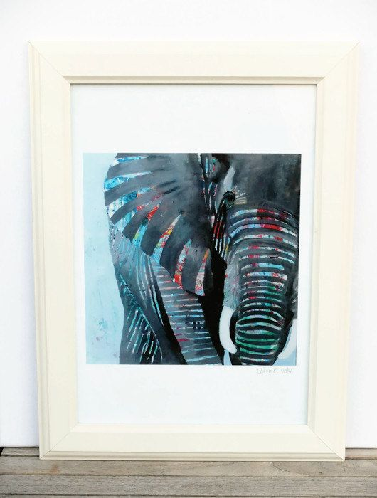 Elephant Art Print, Colorful Animal Art, Quirky Art, Wall Art, Art Gift, Choose from 2 different sizes on Etsy, 15,00€