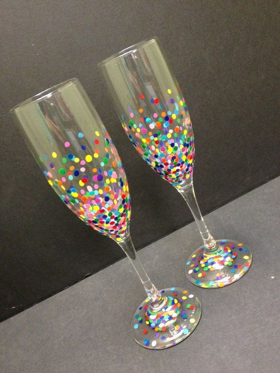 Set of Confetti Champagne Glasses by RoKaByeDesigns on Etsy, $30.00