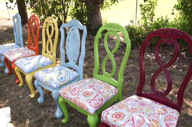 I don't care for the colors here, but you can see how some color and new fabric can give stuffy chairs a lot of personality and whimsy.