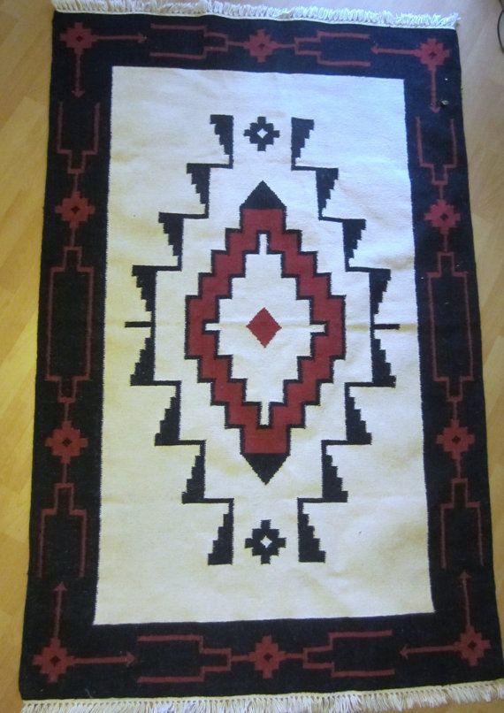 Large Zapotec Aztec Navajo Diamond Pattern Rug Kilim By