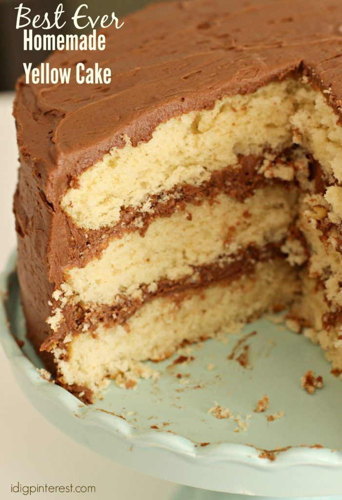 Best Ever Homemade Yellow Cake. You'll never need another from-scratch yellow cake recipe as long as you've got this one at-the-ready! It really is the best! It's moist and decadent and perfectly paired with a rich chocolate buttercream frosting!