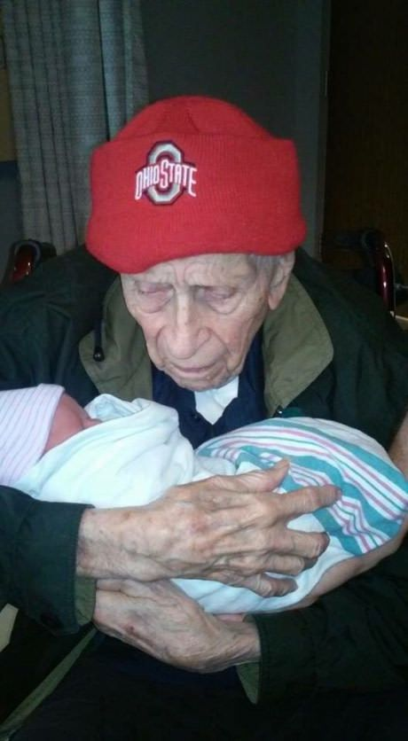 My 100-year-old grandpa with my 1-day-old cousin #lol #funny #rofl #memes #lmao #hilarious #cute