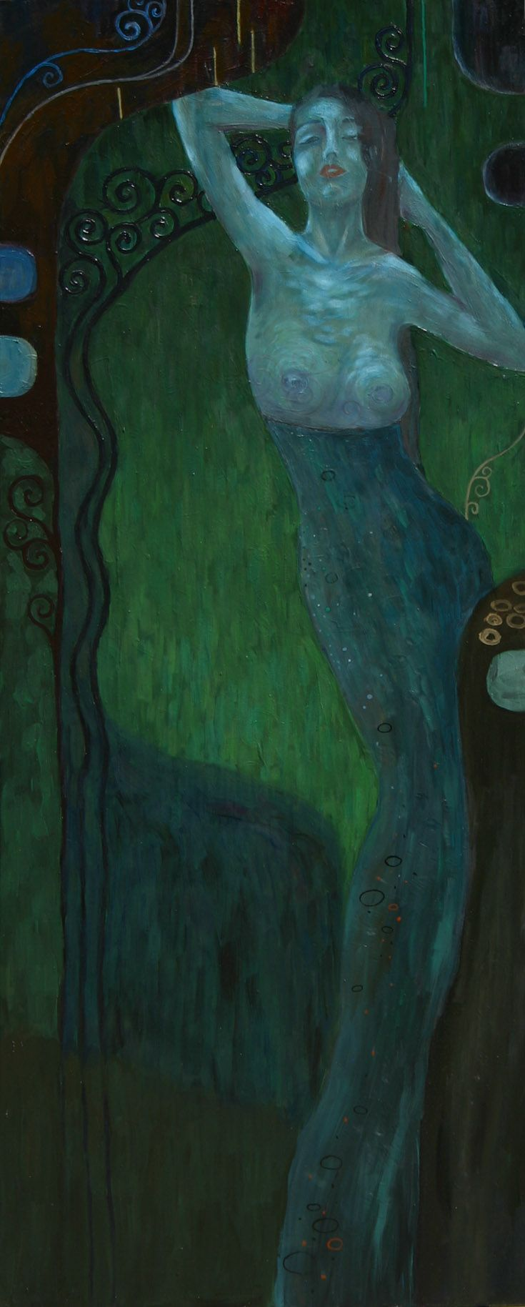 #secession #Klimt #decor #decorative #nude #nudity #erotic #subtle #linear #fineness #woman#art #painting#green