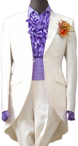 White Satin Mens Button Tuxedo Suit Jacket Shirt Necktie Pants Waist Girdle