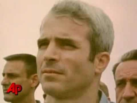 POW John McCain being released as a former POW from Vietnam